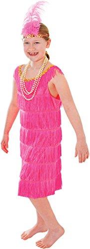 oche Tag Fancy Club Party Mädchen Flapper Kleid mit Stirnband UK, Pink ()
