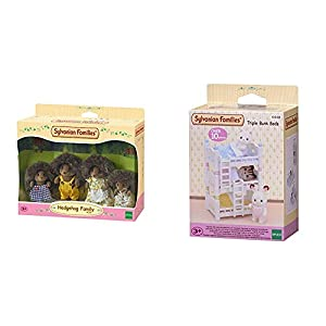 SYLVANIAN FAMILIES Hedgehog Family Mini muñecas y Accesorios,, 20.1 x 15.0 x 5.6 (Epoch para Imaginar 4018) + Triple literas (Epoch para Imaginar 4448)