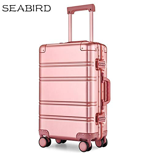 Aluminum alloy business travel hard shell fine tuning trolley case TSA lock luggage@pink_24'