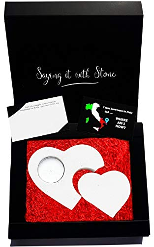 2 Herzen 2 Generationen Teelicht Kerzenhalter aus Stein - Handmade in Italy - Box, Teelicht Kerze und Nachrichtenkarte enthalten - Valentinstag Geschenk Mama Papa Sohn Tochter Oma Opa