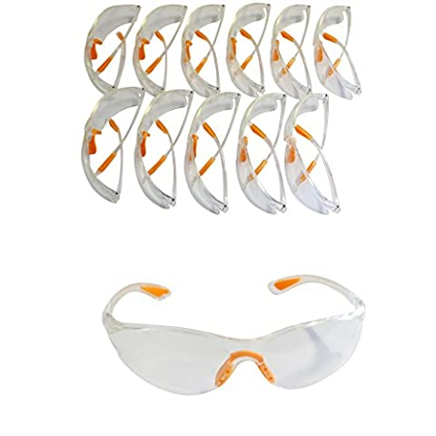 12 Piece Pack of Clear Safety Goggles by Kurtzy - Protective Glasses Eyewear Eyeglasses for Eye Protection with Clear Plastic Lenses and Featuring Rubber Nose And Ear Grips for a Comfortable Fit