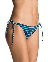 Roxy Pop de la mujer Swim TS SC Bikini parte inferior, mujer, Pop Swim Ts Sc, Blue Depths Olmeque Stripe, small