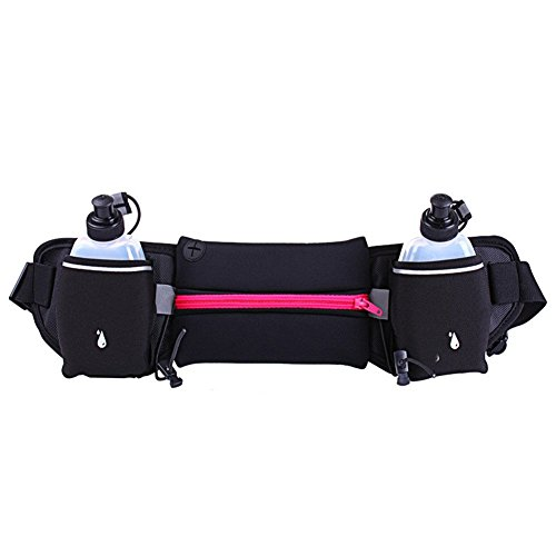 Rosy : Fastar Running Belt with 2 Water Bottles Sports Waist Bag Mobile Phone Pocket Walking Bags with Adjustable Belt for Fitness Training,Hiking,Other Outdoor Activities
