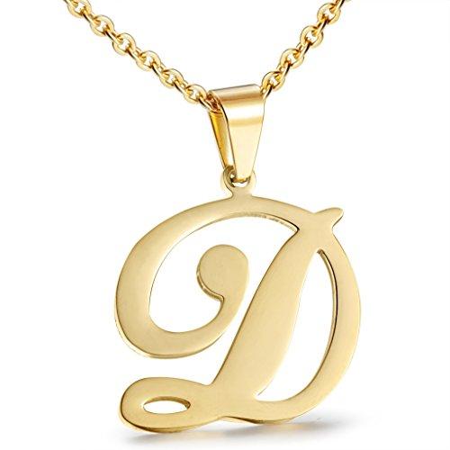 Jstyle Gioielli in Acciaio Inossidabile Collana con Lettera Dorata A-Z Ciondolo Con Iniziale per Uomo Donna Collana Lunga 56cm