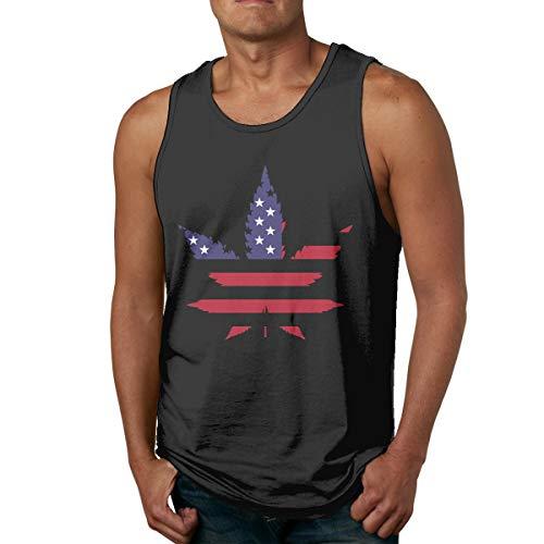 Abigails Home A-Pot-Leaf-with-An-American-Flag Ärmelloses Männer-Tanktop T-Shirt Basketball Sport T-Shirt T-Shirt Outdoor Fitness(3XL,Schwarz) - American Heart Baby T-shirt