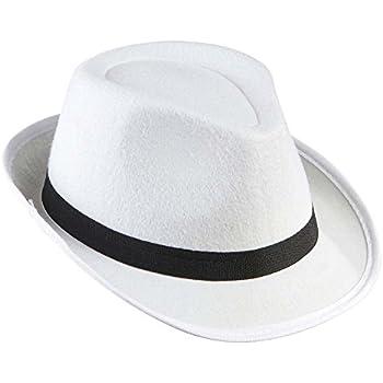Unisex Adulti Uomo Donna Al Capone Gangster Bianco Fatto a Mano feedora Cappello