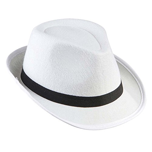 Kostüm White Black And Party - Widmann - Gangsterhut mit Satinband