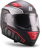 """Soxon  ST-1000 Race """"Red"""" (Rot)  Integral-Helm  Full-face Cruiser Sturz-Helm Motorrad-Helm Roller Scooter-Helm  ECE zertifiziert  inkl. Sonnenvisier  Click-n-Secure Verschluss  M (57-58cm)"""