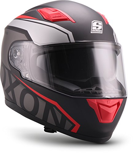 "SOXON® ST-1000 Race ""Red\"" · Integral-Helm · Full-Face Motorrad-Helm Roller-Helm Scooter-Helm Cruiser Sturz-Helm Street-Fighter-Helm Sport Urban · ECE Sonnenvisier Schnellverschluss Tasche M (57-58cm)"