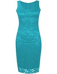 Nouveau dames manches Floral Lace longue moulante en dentelle Robe mi-longue 36-50