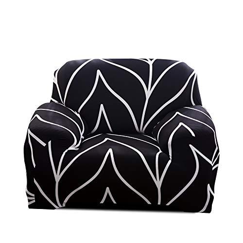 Fashion·LIFE Housse de canapé élastique Couverture de Canapé Spandex Extensible Housse Canapé Imprimé Revêtement de Canapé,Noir 2 Places