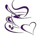 Grandora Wandtattoo Kaffetasse Herz I violett 40 x 45 cm I Kaffee Tasse Bohnen selbstklebend Küche Aufkleber Wandaufkleber Wandsticker W3040
