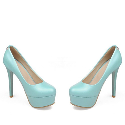 VogueZone009 Femme Rond Tire Pu Cuir Mosaïque à Talon Haut Chaussures Légeres Bleu