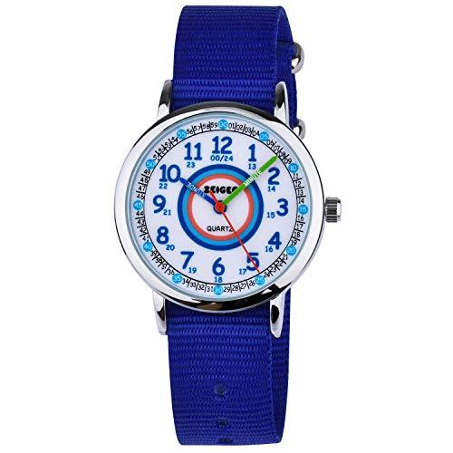 KZKR Kinderuhr Mädchen Jungen Armbanduhr Nylon Quarz Analog Einfach-Lesen Lernuhr Lila Mädchenuhr Jungen Geschenk Uhr (Blau)