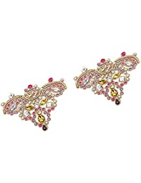Footful Colorful Pair Sewing On Rhinestone Applique For DIY Wedding Dress Shoe Clips