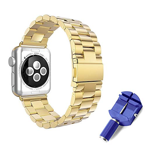 PINHEN for Apple Watch Link Bracelet 44mm 42mm - iWatch Band Stainless Steel Strap for Apple Watch Series 4 3 2 1 (44/42mm, Gold)