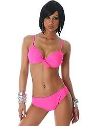 Damen Push-Up Triangle Bikini gepolsterte Cups Zierknoten Träger