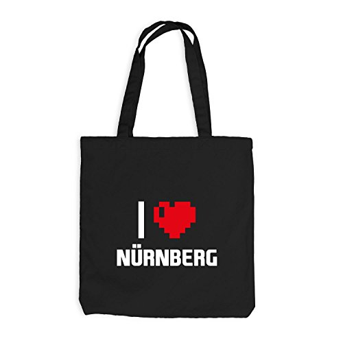 Jutebeutel - I Love Nuernberg - Germany Travel Cuore Cuore Pixel Nero