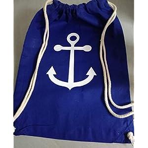 Matchsack Seesack Rucksack Beuteltasche Anker blau