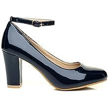 ShuWish UK Damen Pumps Blau Marineblau (Veloursleder)
