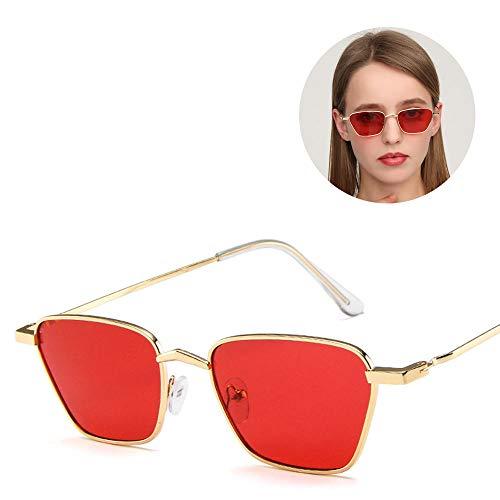 @W.H.Y Retro quadratische Sonnenbrille-Metallkleiner Rahmen-Koreanisches Europa und Diamant-Rauten-Ozean,B
