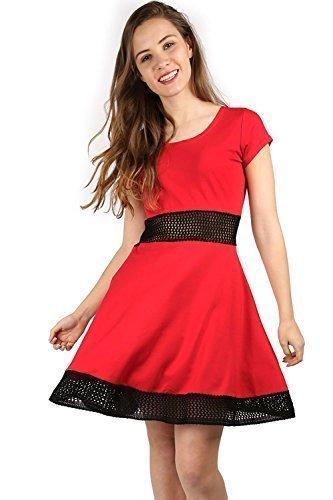 Damen Flügelärmel Hüfte Strick Net Mittellang Skater Midi Kleid Übergröße Marron - Rouge