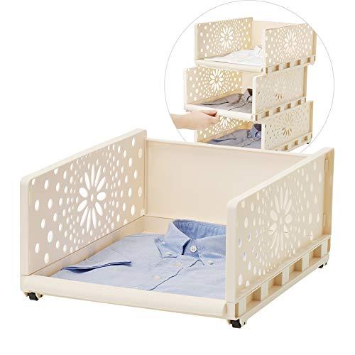 1 Tiers Zoomaian Kleiderschrank-Aufbewahrungsbox Kunststoff Stapelbar Abnehmbare Aufbewahrungsbox Regal Schrank-Organizer für Kleiderschrank Schlafzimmer Küche und Badezimmer -