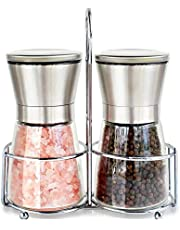 Grizzly Premium Stainless Steel Glass Body Salt and Pepper Grinder with Adjustable Ceramic Mechanism and Stainless Steel Holder(Silver)