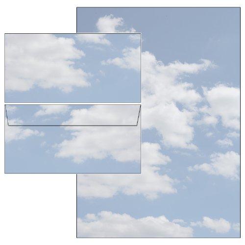 Wolken Clouds Set 50-teilig 25 Blatt Briefpapier + 25 Stück Briefumschläge DIN lang ohne Fenster 5165+6165