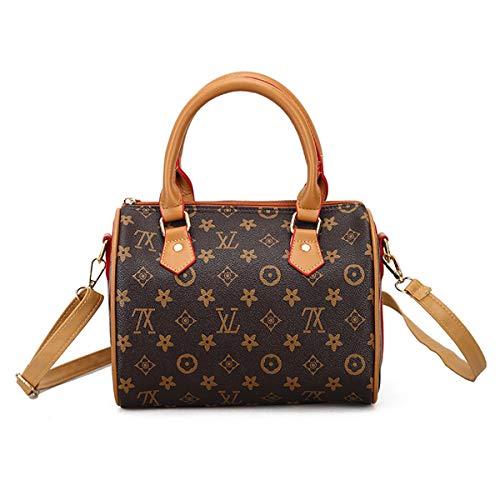 FXTKU 2019 neue Boston Tasche Damen mobile Handtaschen Mode Taschen Europa und die Vereinigten Staaten Stil Fan Day Farbe alte Blume Tasche (Brown, 25 * 15 * 18cm)