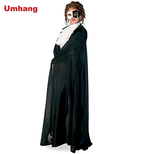 Schwarzer Umhang Cape sehr lang mit Kragen Phantom Vampir Teufel Horror Herren-/Damenkostüm Gr. 46 (Phantom-cape)