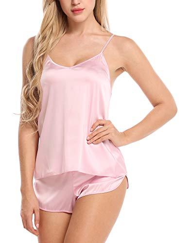 Zwei Stück Cami (Skine Damen Schlafanzüge Satin Kurz Sexy Wäsche Nachtwäsche Solid Pyjamas Sets Chemises Cami Top & Shorts Verstellbarer Träger 2 Stück)