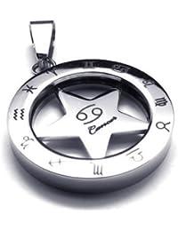 KONOV Schmuck Edelstahl Tierkreis Sternzeichen Krebs Anhänger mit 50-70cm Kette, Halskette für Herren Damen, Silber