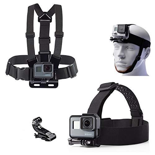 micros2u (Twin Pack) Brustkorb Brustgurthalterung und Kopfband (mit abnehmbarem Kinnriemen). Kompatibel mit Gopro Hero 7, 6, 5, 4, 3, 2. Sitzung. SJCam, Actionkameras.