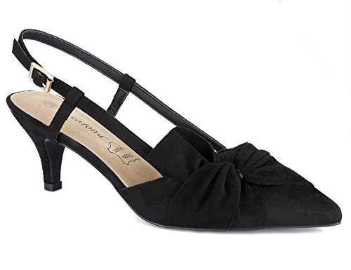Greatonu Damen Sandalen Schleife Kitten Absatz Slingback Pointed Toe Schwarz Größe 40EU