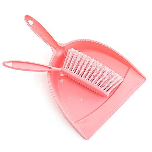 CWAIXX Plastik Kit Mini kleiner Haushalt Besen Besen Kehrblech set handheld Staubwedel Staub Pfanne Besen , Rosa