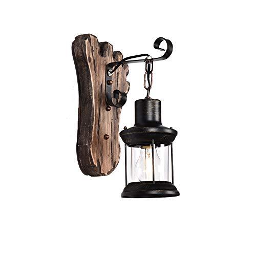 Modenny Applique Murale Antique en Bois Massif Vintage Lampe en Fer Forgé Kérosène Lanterne E27 Edison Applique Murale Rétro Loft Couloir Tenture Lampe pour Salle À Manger Décoration De Porche
