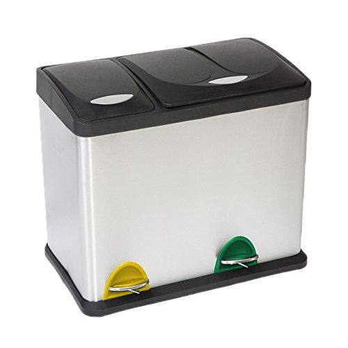Treteimer Abfalleimer Mülleimer Mülltrennung Edelstahl (24 Liter 16L+8L)