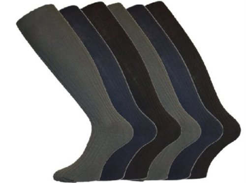 6 Pairs Mens Long Hose Ribbed 100% Cotton Comfy Grip Socks