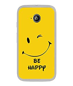 FUSON Designer Back Case Cover for Motorola Moto E :: Motorola Moto E XT1021 :: Motorola Moto E Dual SIM :: Motorola Moto E Dual SIM XT1022 :: Motorola Moto E Dual TV XT1025 (Yellow Background Cute Smiling Smiley Big Smile)