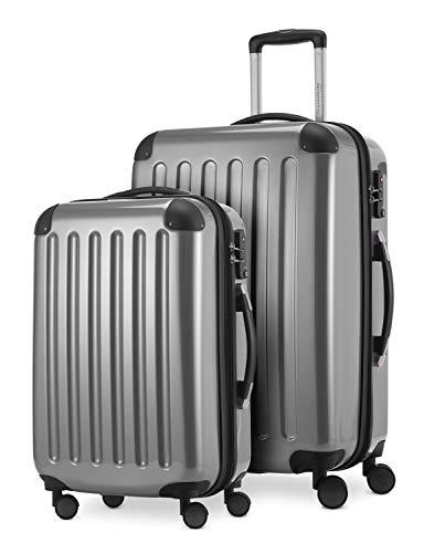HAUPTSTADTKOFFER® · Set de 2 Valises à coque dure · Valise cabine de 45 litres + Valise de 87 litres · Serrure TSA (Argenté)