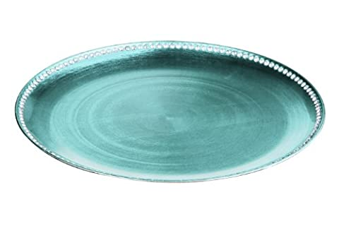 Premier Housewares Dia Coupe Charger Plate with Diamante Edge, 33 cm - Teal Radiance