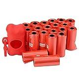 20 Rotoli Borsa per rifiuti per Cani Sacchetti per la Pulizia degli Animali Domestici con Supporto per Dispenser di Sacchetti a Forma di Osso per Cani e Gatti(Rosso)