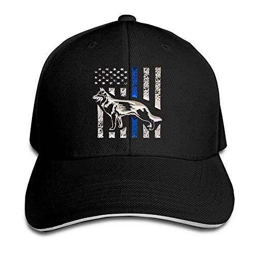 Wdskbg ZJXBaseball Cap Sandwich Cap K-9 Blue Lives Matter Thin Line Dog Durable Baseball Cap Hats Adjustable Peaked Trucker Cap