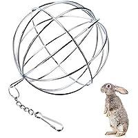 UIEECAGA - Pelota de Hierba para Mascotas de Acero Inoxidable, dispensador de Comida de Conejo