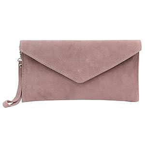 AmbraModa bolsa de embragues, envelope clutch, carteras de mano de ante genuino para mujer WL801