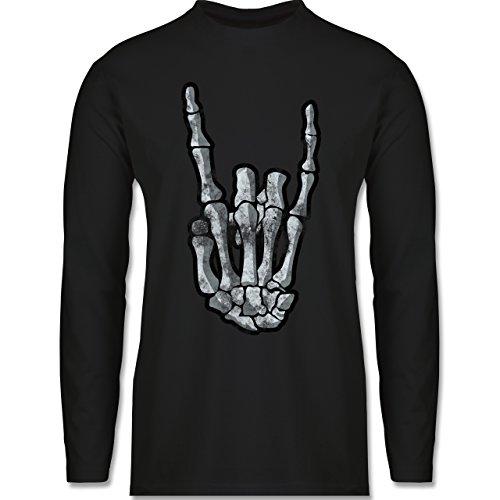 Shirtracer Metal - Metal Horns Skelett Hand - Herren Langarmshirt Schwarz