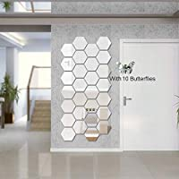 Atulya Arts 3D Acrylic Stickers Mirror Silver Hexagon Wall Sticker with 10 Butterflies Decorative Sticker - (Pack of 28…
