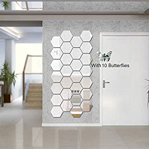 Atulya Arts 3D Acrylic Hexagon Wall Decals Mirror Art DIY for Home Living Room Bedroom Office Décor, Decorative Mirror Wall Stickers with 10 Butterfly Stickers (Pack of 28, Silver,10.5cm X 12.1cm)