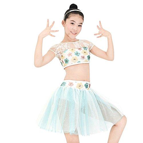 MiDee Mädchen 2 Stücke Blumen Spitze Pailletten Lyrical Tanz Kleid Bauch Kostüm (Mehrfarbig, (Stück 2 Tanz Kostüm Zeitgenössischer)